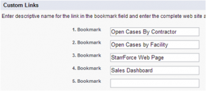 Salesforce Home Page Custom Links