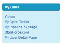 Saleforce Home Page Custom Links